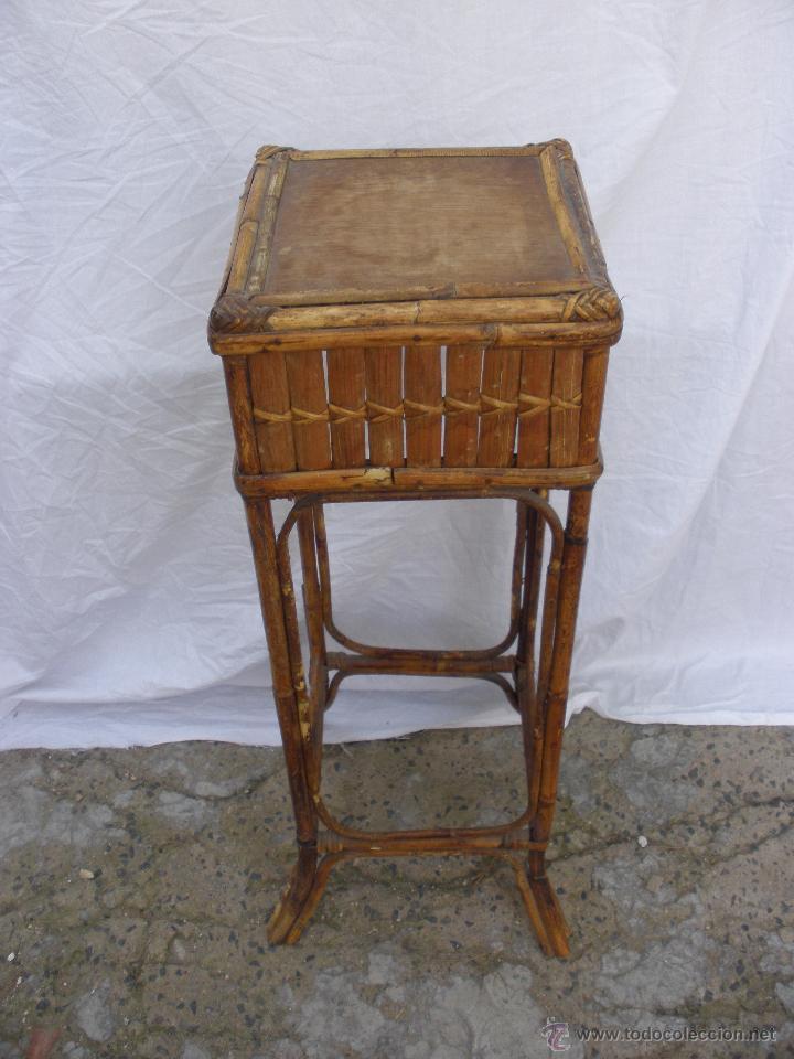 Mesa antigua en mimbre y ca a de bamb ideal ma comprar for Muebles de cana y mimbre