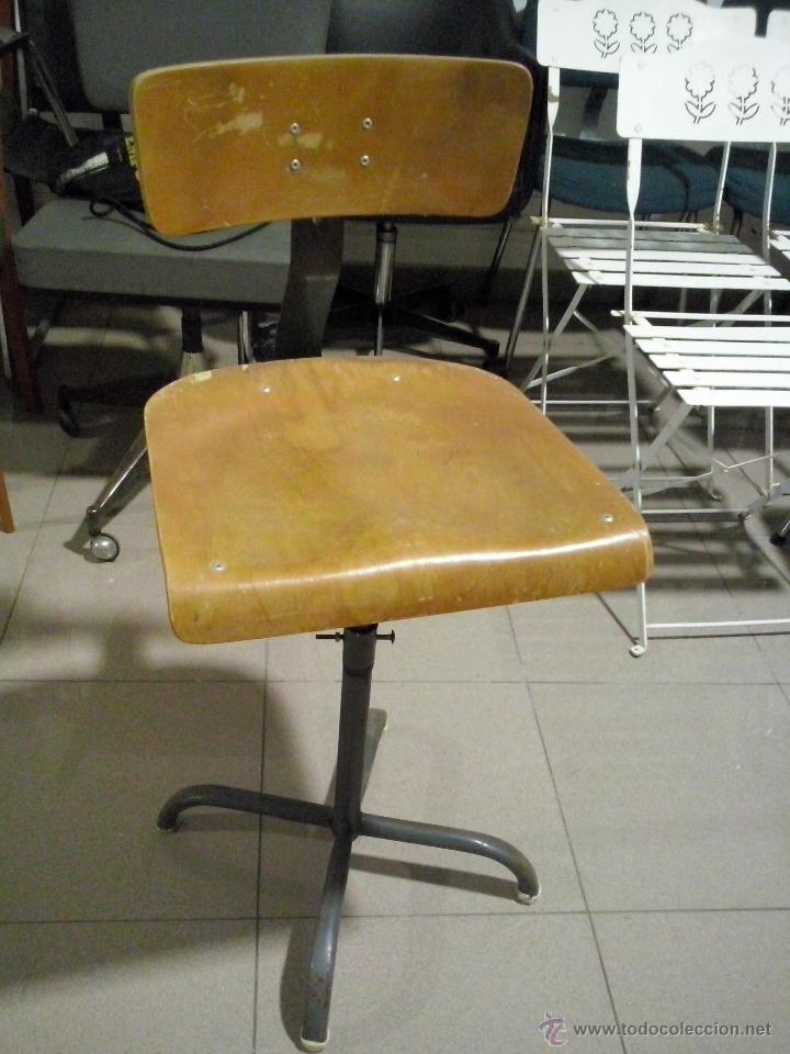 SILLA INDUSTRIAL REGULABLE.AÑOS 60 (Vintage - Muebles)