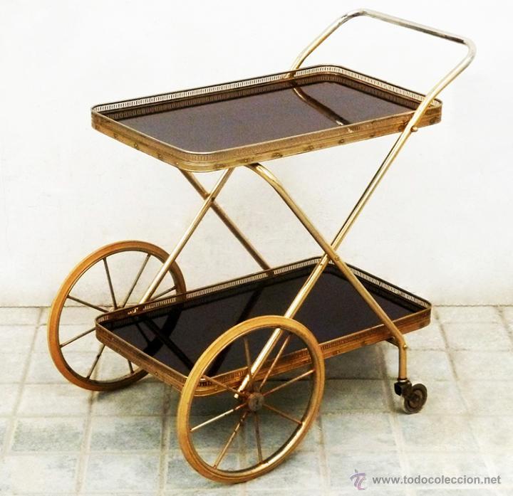 Camarera dorada antigua vintage dise o plegable comprar muebles vintage en todocoleccion - Carrito camarera vintage ...
