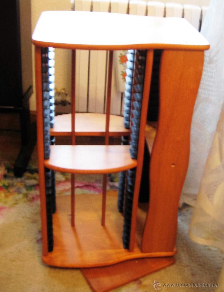 Vintage: 2 muebles- estanterias- GIRATORIOS para guardar DVDs, en madera - Foto 3 - 53848113