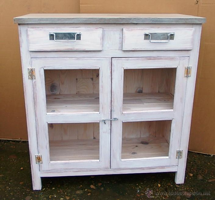 Alacena o despensa de madera mueble blanco dec comprar for Muebles retro online