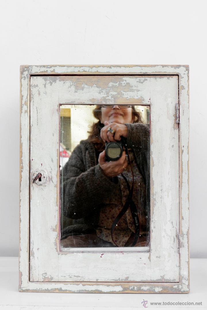 Antiguo armarito de ba o con espejo y llave de comprar for Espejo bano vintage