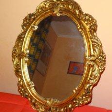 Vintage: ESPEJO 83 X 65 CM. MARCO DE MADERA PINTADO PAN DE ORO AÑOS 60. Lote 54111795