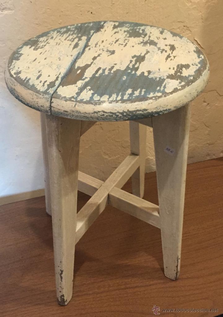 Taburete de pino pintado de blanco y azul comprar - Muebles blancos vintage ...