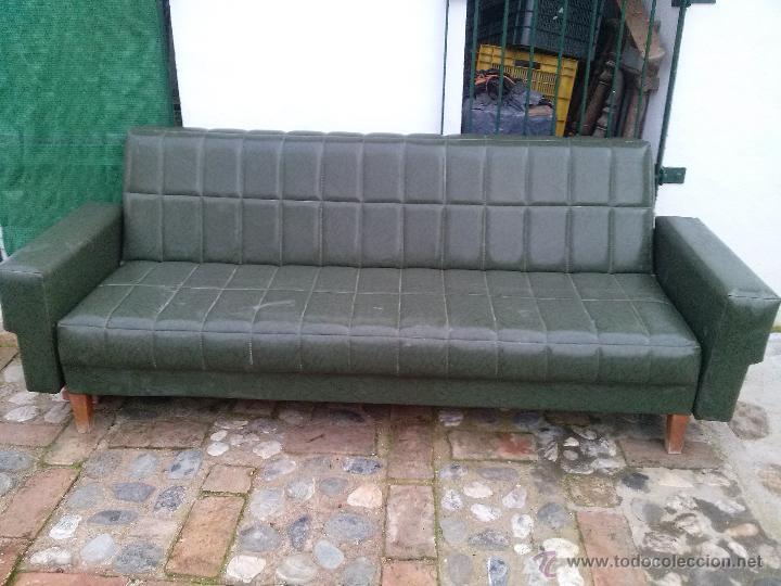 Sofa cama plegable en skay verde cosido en cuad comprar for Sofa cama plegable