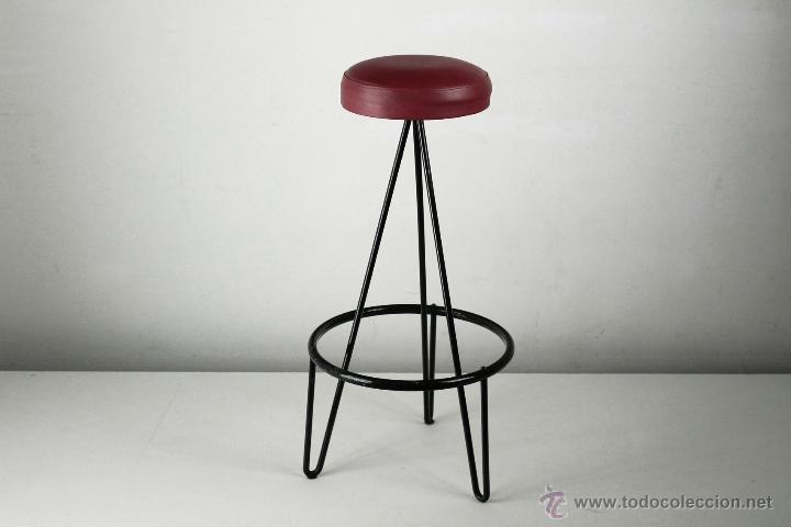 taburete silla negro skay rojo vintage francia - Comprar Muebles ...