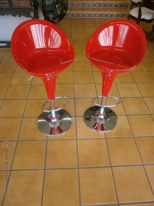 2 taburetes - vintage - color rojo - cromado - - Comprar Muebles ...