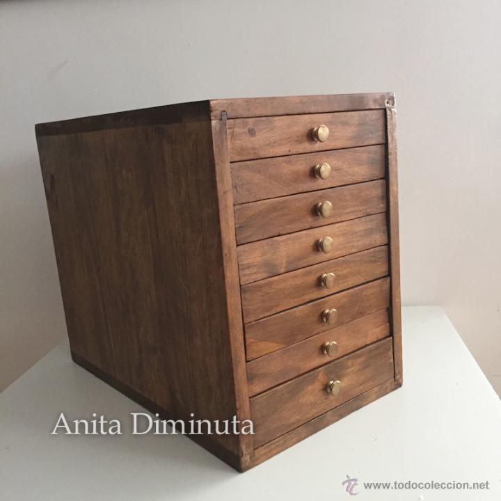 Antiguo mueble cajonera organizador en madera comprar for Epoca muebles