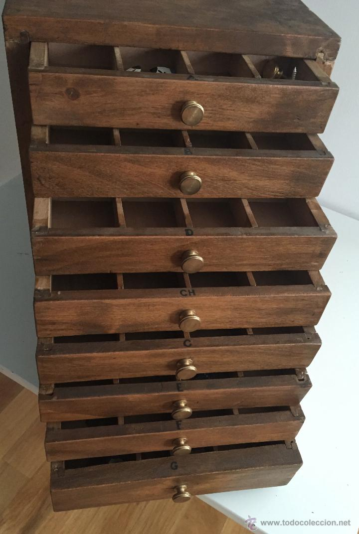Antiguo mueble cajonera organizador en madera comprar for Mueble organizador