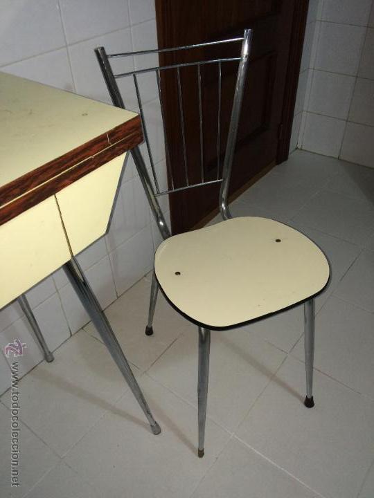 Mesa de cocina extensible con dos sillas vinta comprar muebles vintage en todocoleccion - Mesa cocina vintage ...