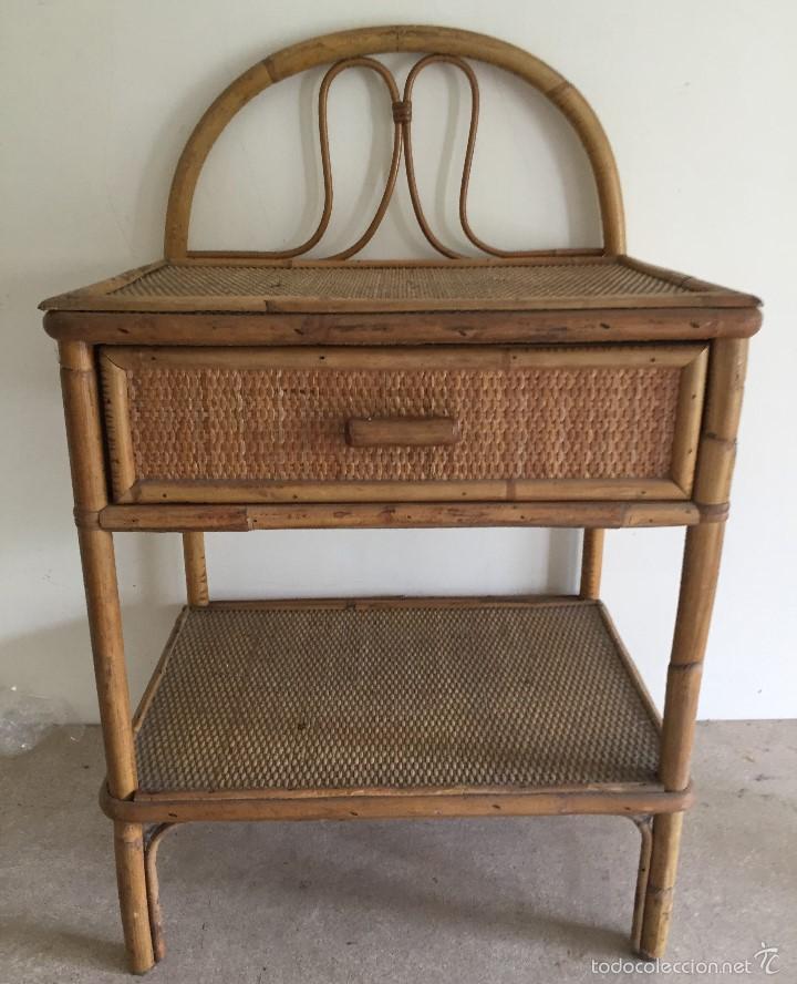 Mesilla de noche ca a y mimbre comprar muebles vintage for Muebles de cana y mimbre