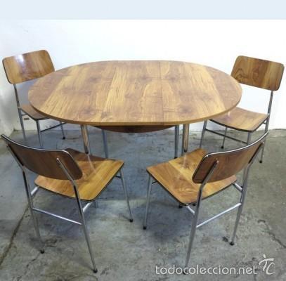 Conjunto vintage de mesa extensible y 4 sillas comprar for Conjunto mesa extensible y sillas comedor