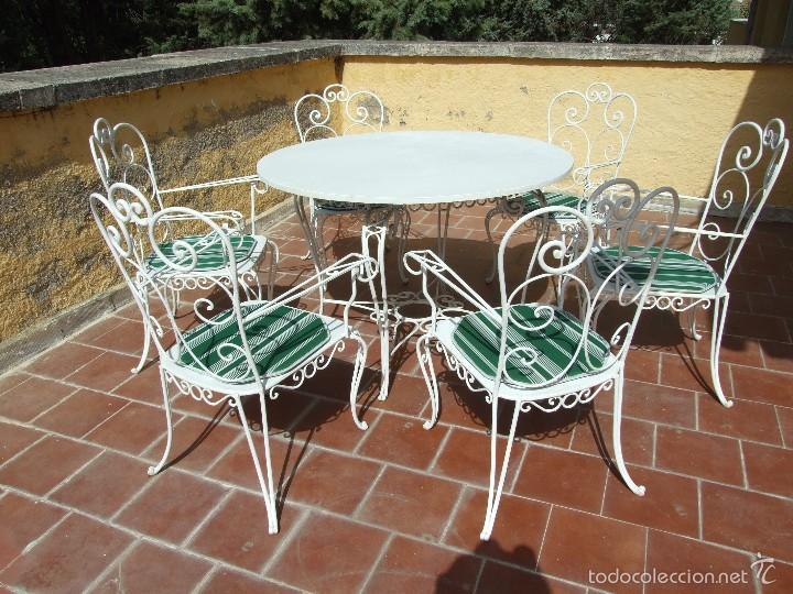 Conjunto de mesa y sillas de forja para jard n comprar for Mesas vintage segunda mano