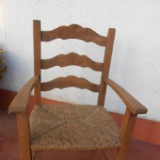 Vintage: PEQUEÑO SILLÓN MADERA Y ENEA-AÑOS 50. Lote 56221330