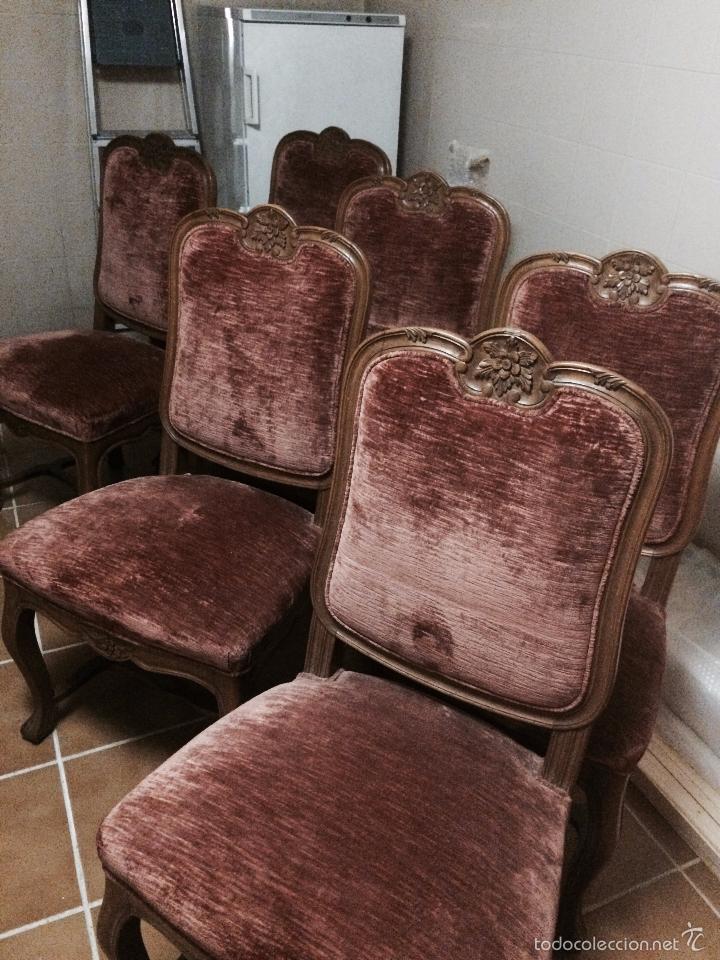 Lote de 6 sillas estilo luis xv tapizadas terci comprar for Muebles luis xv segunda mano