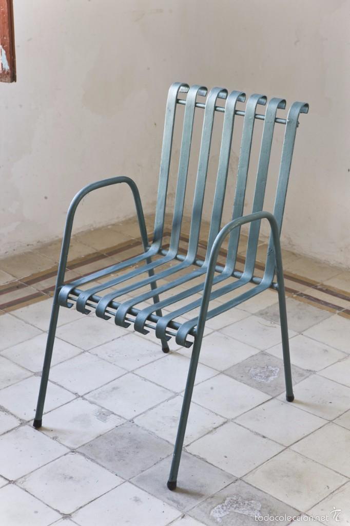 Juego 4 sillas de hierro vintage a os 70 comprar - Sillas de hierro ...