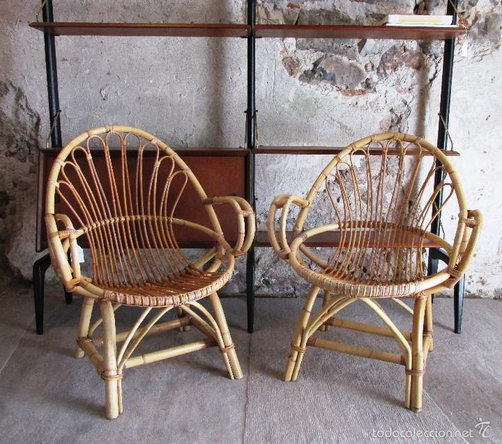 Pareja de sillones de mimbre a os 60 vintage comprar for Muebles de cana y mimbre