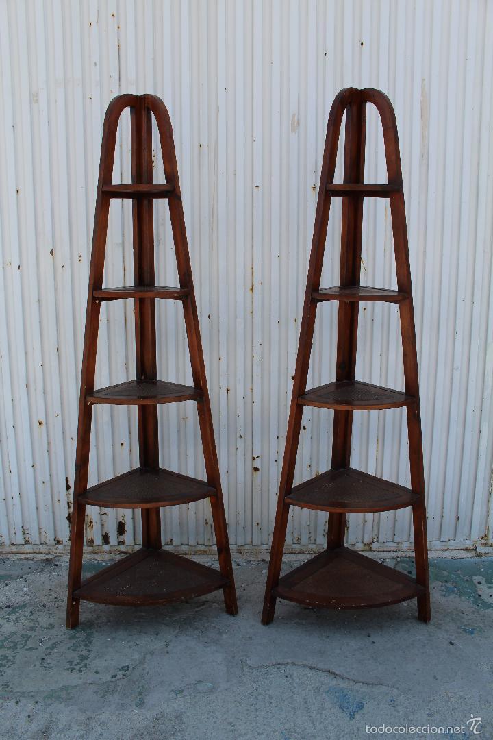 2 estanterias rinconeras en madera de palosanto comprar muebles vintage en todocoleccion - Estanterias madera ...
