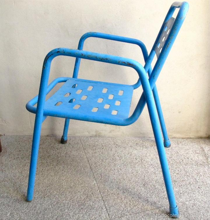 Silla Terraza Hierro Industrial Bar Azul Metal Sold