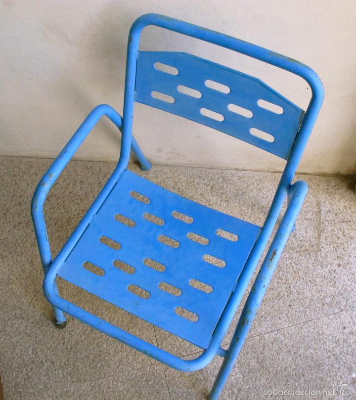 Silla Terraza Hierro Industrial Bar Azul Metal Sold