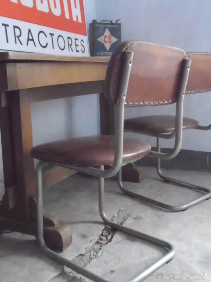 Vintage: SILLA METAL DISEÑO cesca ? TAPIZADO POLIPIEL MARRON LOTE DE 2 sillas - Foto 2 - 84539318