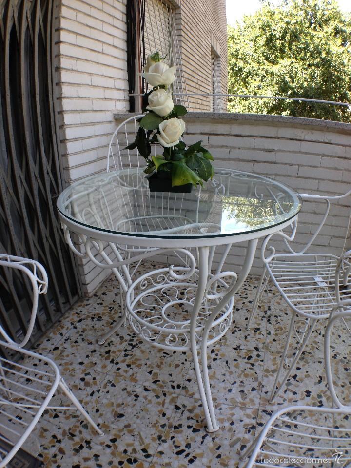 Antiguo juego de mesa y cuatro sillas de jard n comprar for Compro juego de terraza