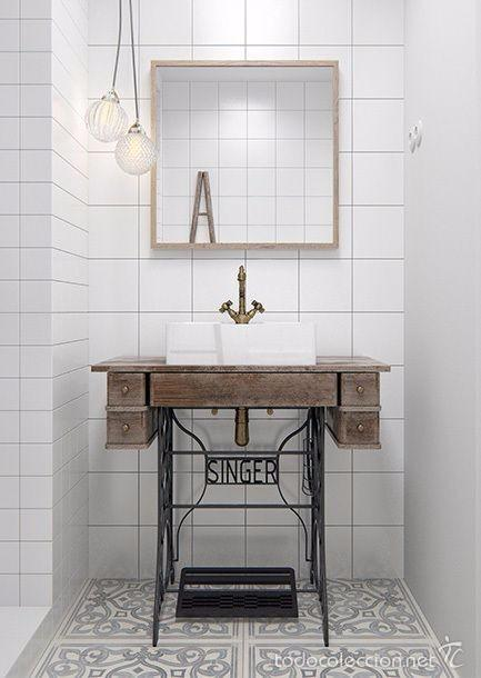 Mueble de lavabo con base de maquina de coser comprar for Mueble encima wc ikea