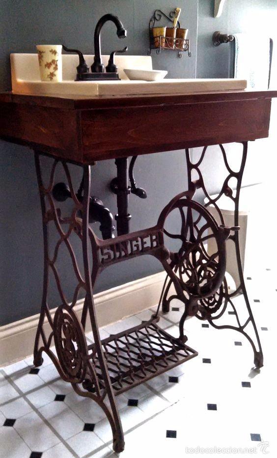 Mueble de lavabo con base de maquina de coser comprar for Mueble maquina de coser