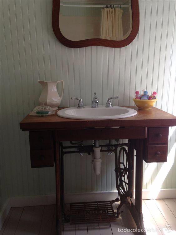 Mueble de lavabo con base de maquina de coser comprar for Casa muebles singer villavicencio