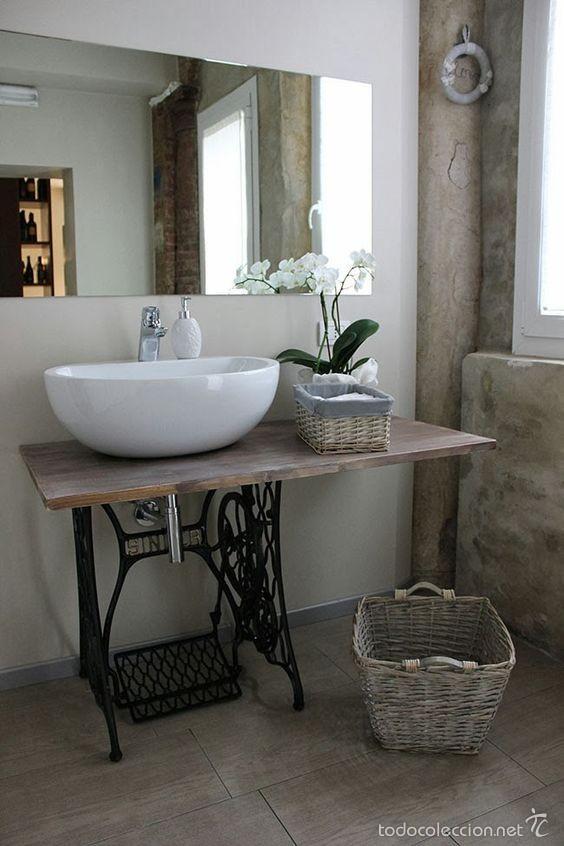Mueble de lavabo con base de maquina de coser comprar for Muebles vintage on line