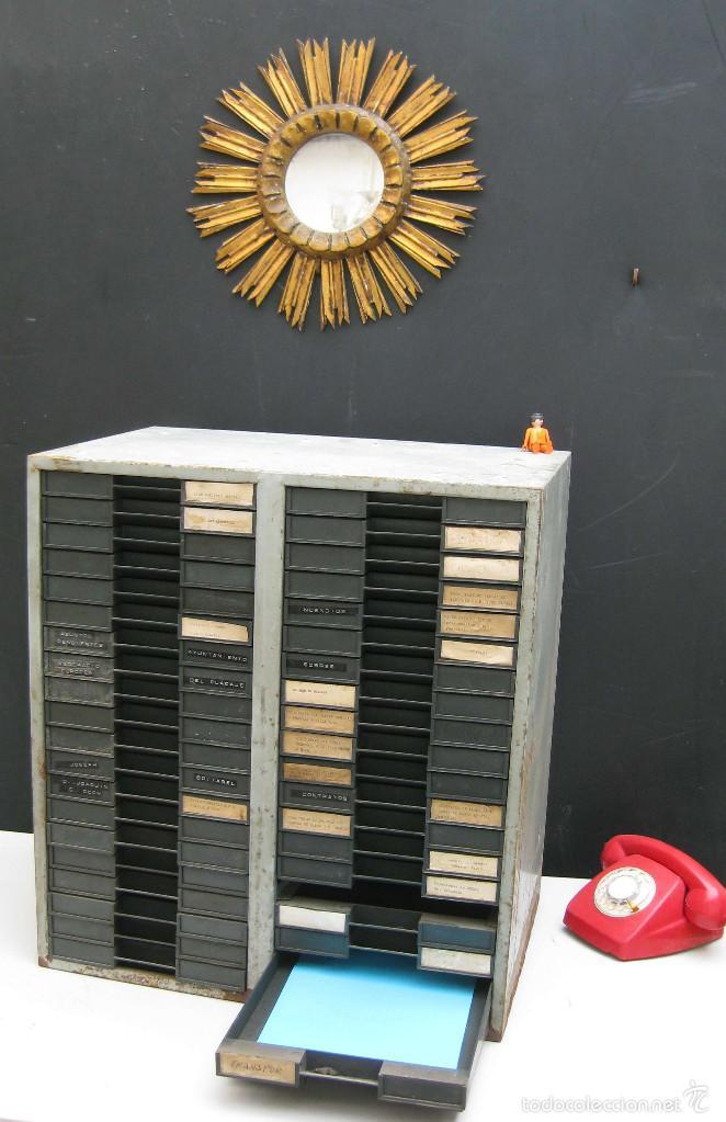 GRAN MUEBLE ARCHIVADOR METAL CAJONERA IDEAL PAPEL VINTAGE DECORACION INDUSTRIAL (Vintage - Muebles)