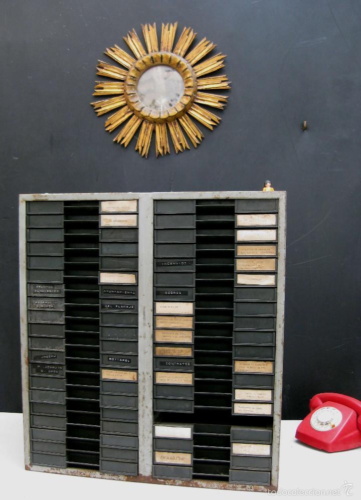 Vintage: GRAN MUEBLE ARCHIVADOR METAL CAJONERA IDEAL PAPEL VINTAGE DECORACION INDUSTRIAL - Foto 4 - 58944565