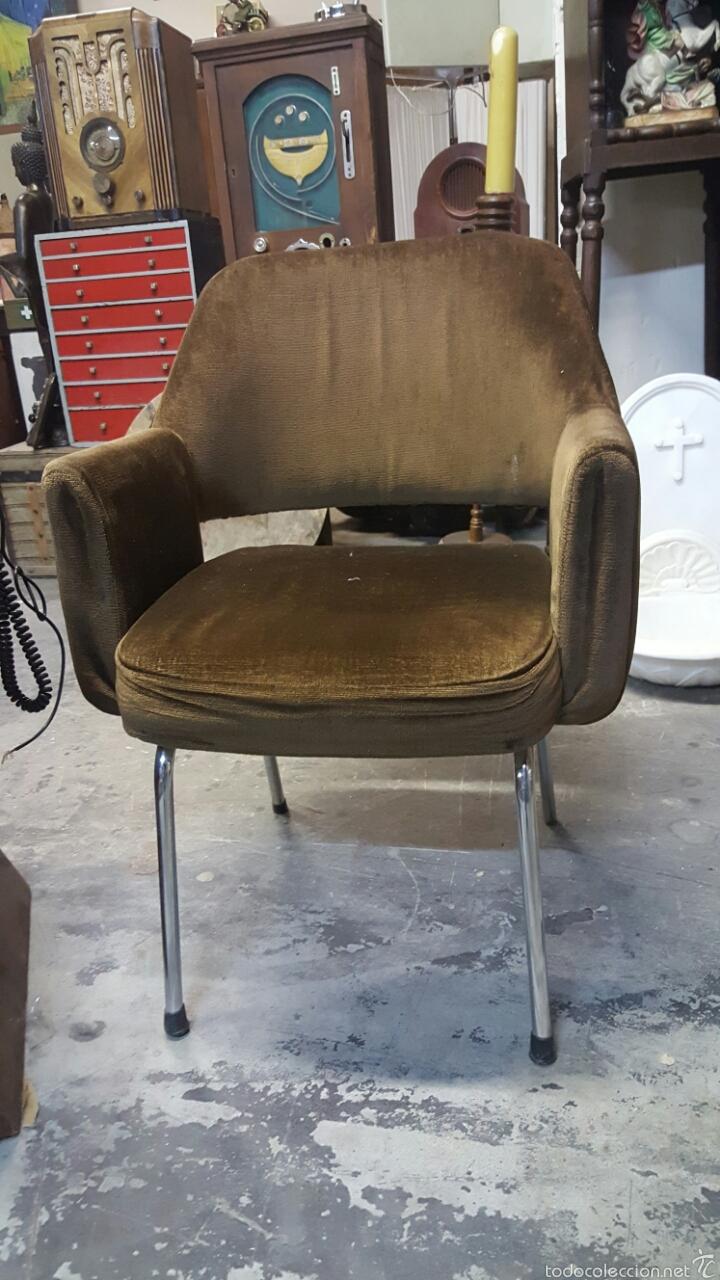 silla de oficina vintage, tapizado marrón. 1960 - Comprar Muebles ...