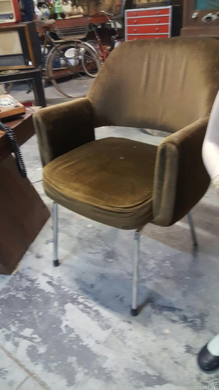 Vintage: Silla de oficina vintage, tapizado marrón. 1960s-1970s - Foto 2 - 60965409