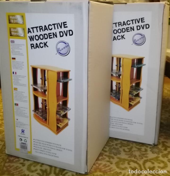 Vintage: 2 muebles- estanterias- GIRATORIOS para guardar DVDs, en madera - Foto 4 - 53848113
