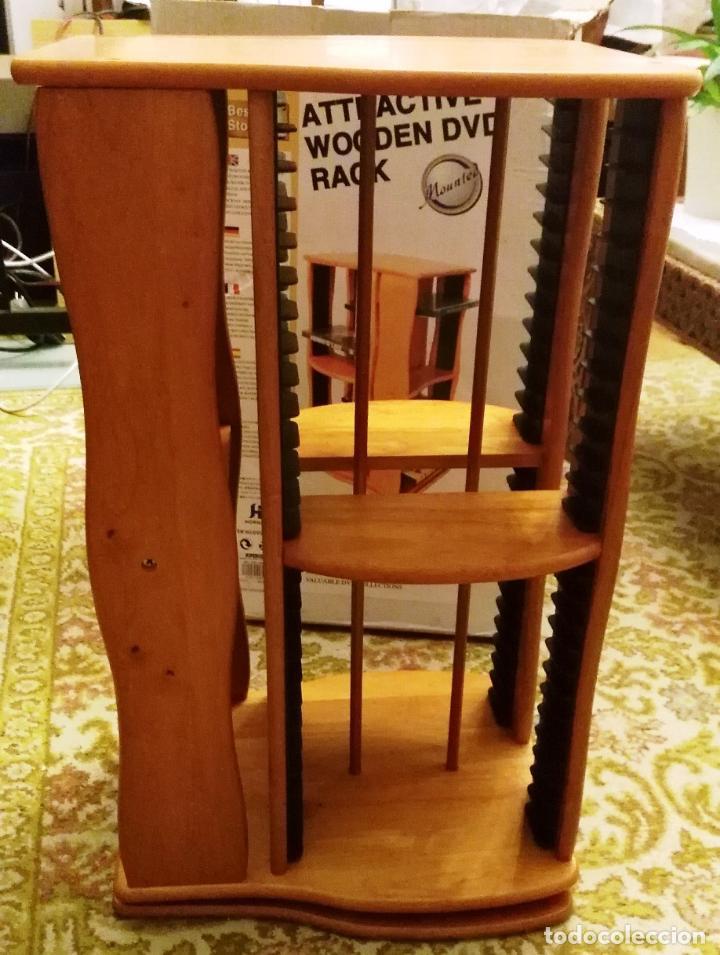 Vintage: 2 muebles- estanterias- GIRATORIOS para guardar DVDs, en madera - Foto 6 - 53848113