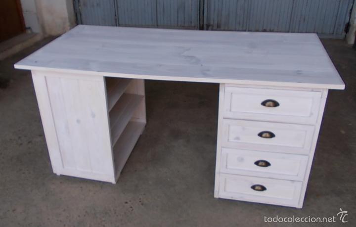 Escritorio de madera blanco con 4 cajones y 3 comprar for Muebles retro online