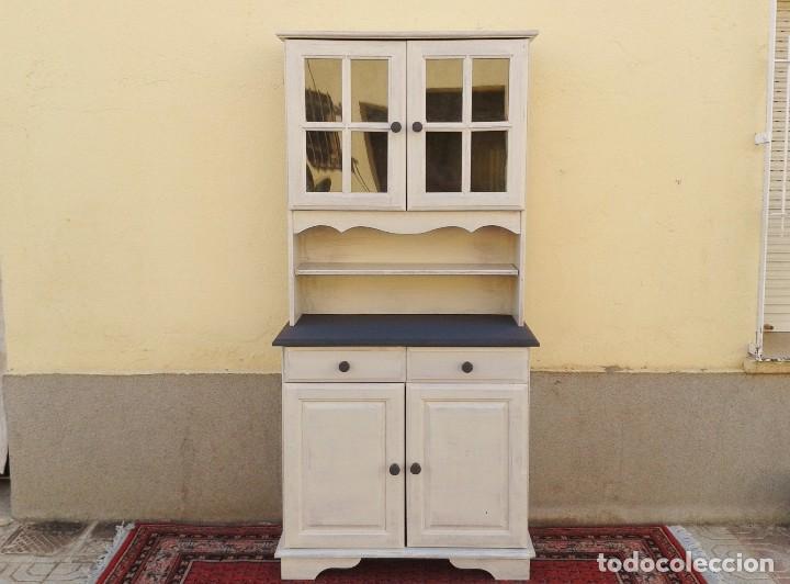 Mueble auxiliar con vitrina retro vintage apar comprar for Muebles antiguos vintage