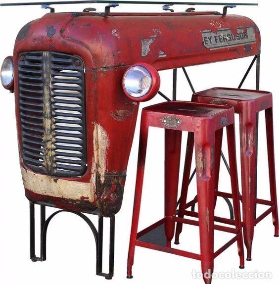 Mesa alta retro vintage con tractor para casa o comprar - Muebles online vintage ...