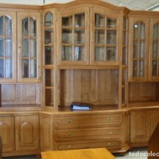 Vintage: MUEBLE VITRINA LIBRERÍA MURAL CON APARADOR BAJO, DE ROBLE. Lote 62687544