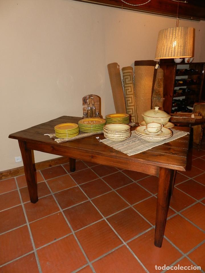 mesa de comedor en madera de pino envejecido - Comprar Muebles ...