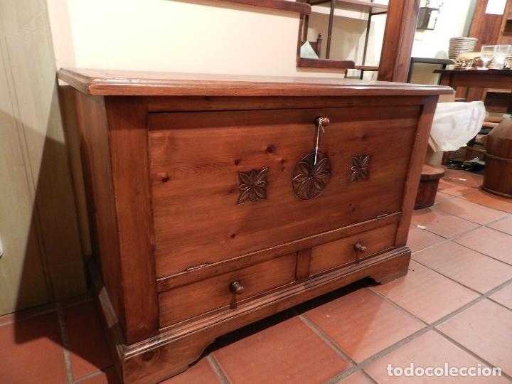 mueble arcón en madera de pino con tapa abatibl - Comprar Muebles ...