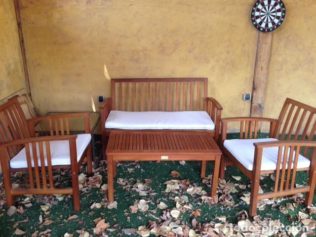 conjunto madera 2sillas, mesa y banco. cojines. - Comprar Muebles ...