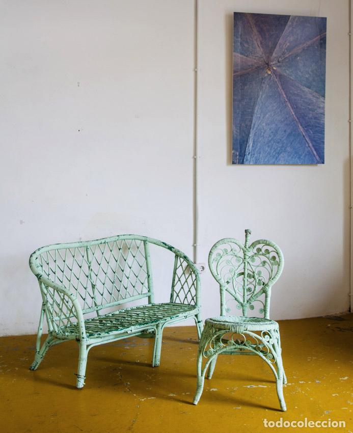 Banco de jard n mimbre pintado francia a os comprar - Muebles de mimbre pintados ...
