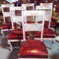 Vintage: LOTE DE 6 SILLAS DE CUERO ROJO. Lote 67654969