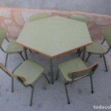 Vintage: FEDERICO GINER SA - LOTE DE 6 SILLAS DE GUARDERIA Y MESA AÑOS 60'S/70'S + INFO Y FOTOS.. Lote 69781841