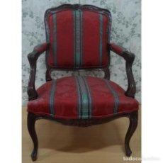 Vintage: SILLON LUIS XV NOGAL TAPIZADO LISTAS. Lote 72872819