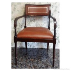 Vintage: BUTACA SILLON SHERATON PIEL GRECA NOGAL. Lote 72873979