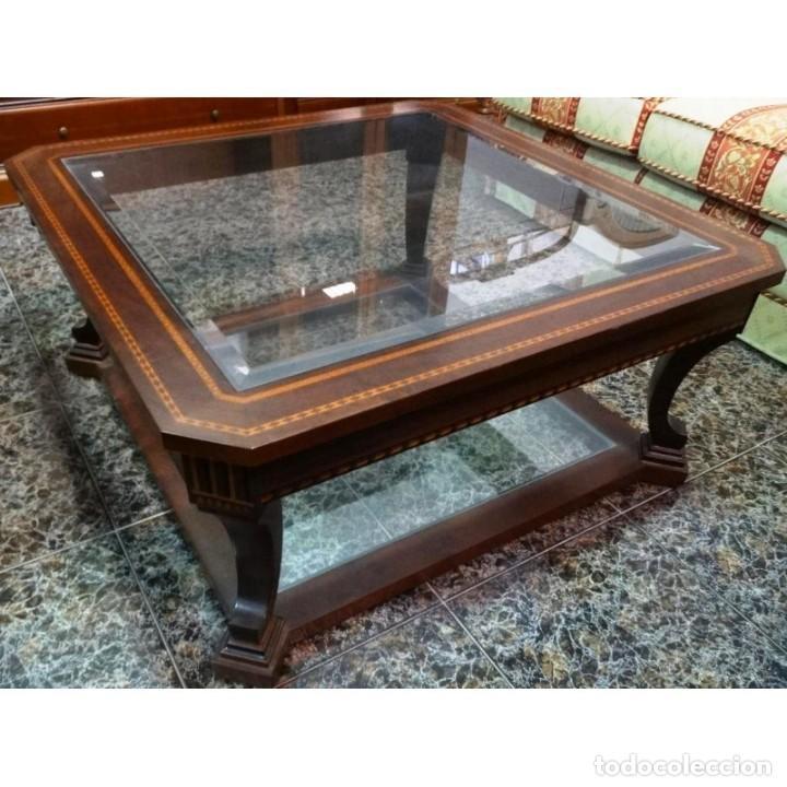 MESA CENTRO NOGAL MEDIDAS 100 X 100 (Vintage - Muebles)