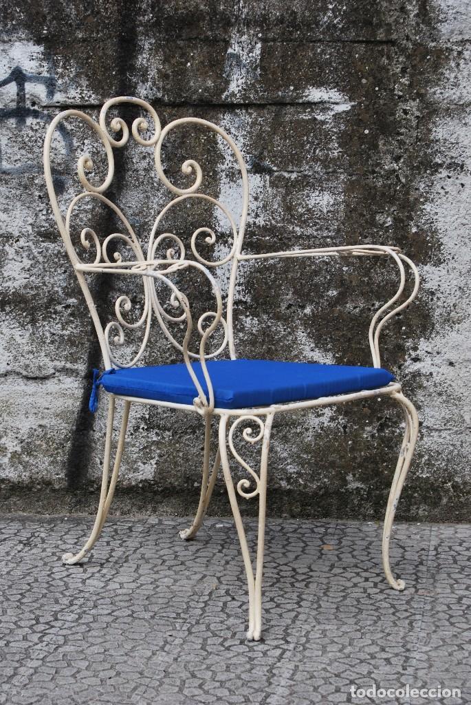 Pareja de sillas de jard n de hierro forjado comprar for Sillas hierro jardin